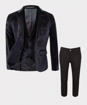 Boys Tailored Fit Velvet 3 piece  Suit with Elbow Patches in Black