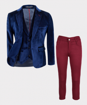 Boys Tailored Fit Velvet 3 piece Suit with Elbow Patches in Navy Blue