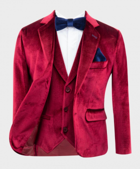 Boys Tailored Fit Velvet Jacket in Claret Red along with waistcoat bow tie and hankie Open Picture