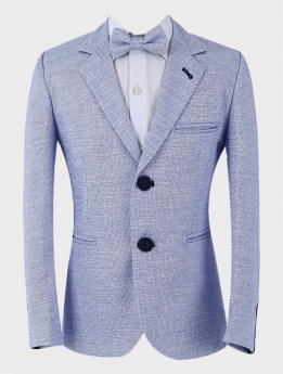 Blue tweed-like blazer Jacket with matching bow tie Close  pictures