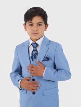 Boys Suit Formal Tailored Fit 3 Piece Set in Blue