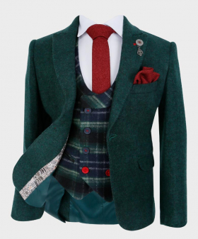 Boys Tailored fit Cashmere Wool Blend Blazer Waistcoat Set in Forest Green - Front Blazer with shirt, tie and hankie button on - Fully Lined