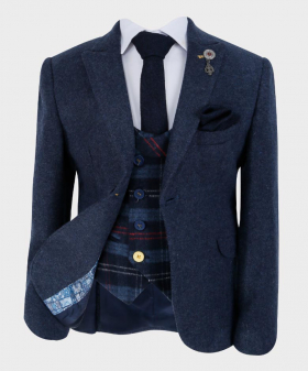 Boys Tailored fit Cashmere Wool Blend Blazer Waistcoat Set in Navy Blue - view from the blazer open, waistcoat, shirt and hanky
