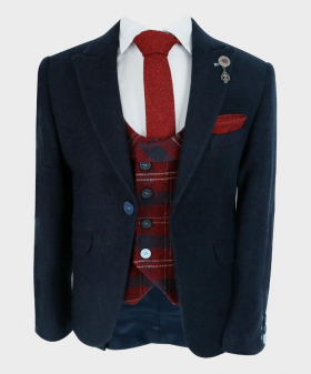 Boys Tailored fit Cashmere Wool Blend Blazer Waistcoat Set in Navy Blue Red - view of the waistcoat with a shirt and tie - Fully Lined