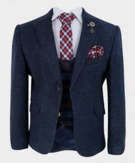 Boys Tailored fit Cashmere Wool Blend Blazer Waistcoat Set in Navy Blue - Front Blazer with shirt, square pattern tie and hankie - Fully Lined