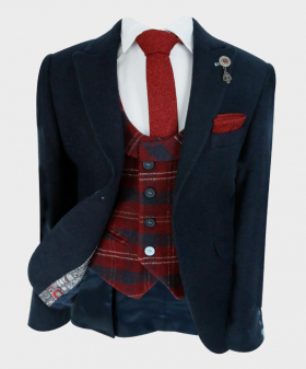 Boys Tailored fit Cashmere Wool Blend Blazer Waistcoat Set in Navy Blue Red - open view of the Blazer with a shirt, tie and hankie - Fully Lined