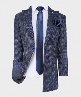 Boys Tailored fit Flecked Donegal Tweed Navy Blue Overcoat Jacket-shirt tie hankie jacket front open picture