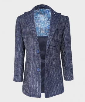 Boys Flecked Donegal Tweed Tailored Fit Overcoat Jacket in Navy Blue front picture