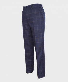 Boys Tailored Fit Navy Blue Tweed Check Suit Trousers-angled
