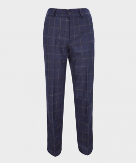 Boys Tailored Fit Navy Blue Tweed Check Suit Trousers-front