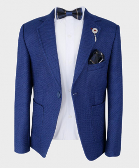 Boys Tailored fit Textured Knitted Blazer Jacket in Royal Blue with bowtie,hankie and shirt