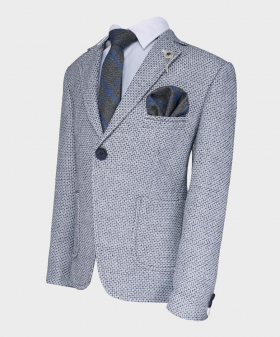 Boys Tailored fit Textured Knitted Blazer Jacket in Grey Blue-with shirt tie hankie side