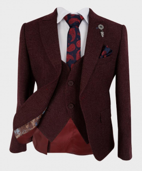 Boys Tailored fit Tweed Look Textured Suit jacket, waistcoat with accessories in Burgundy front  picture