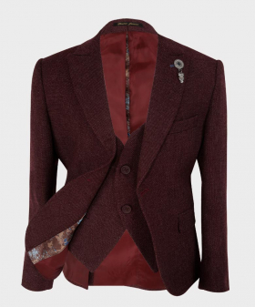 Boys Tailored fit Tweed Look Textured Suit jacket, waistcoat in Burgundy front open picture