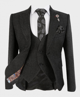 Boys Tailored fit Tweed Look Textured Charcoal Black Fashion Page Boy Suit   Boys Formal Wear   Kids Wedding Suit