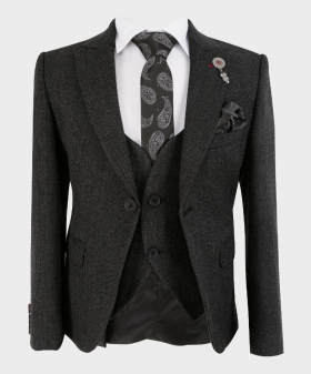 Boys Tailored fit Tweed Look Textured Charcoal Black Fashion Page Boy Suit Set with tie,hanky and shirt   Boys Formal Wear   Kids Wedding Suit