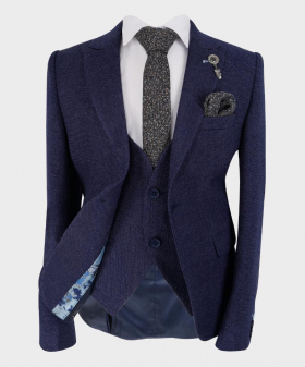 Boys Tailored fit Tweed Look Textured Navy Blue Fashion Page Boy Suit   Boys Formal Wear   Kids Wedding Suit