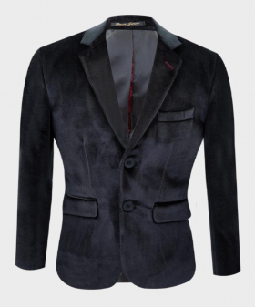Boys Tailored Fit Velvet  Blazer with Elbow Patches in Black Close