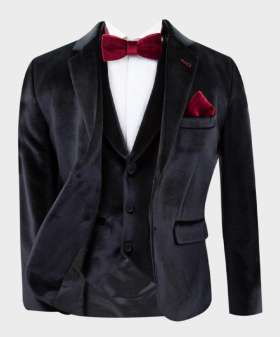 Boys Tailored Fit Velvet  Blazer with Elbow Patches in Black  Open Picture
