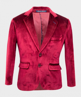 Front view of the Boys Tailored Fit Velvet Blazer with Elbow Patches in Claret Red