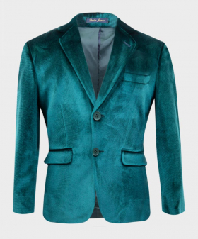 Boys Tailored Fit Velvet  Blazer with Elbow Patches in Green