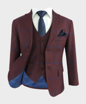 Boys Tailored Fit Windowpane Check Jacket and waistcoat in Burgundy with Blue Stripes  with navy blue accessories open front picture