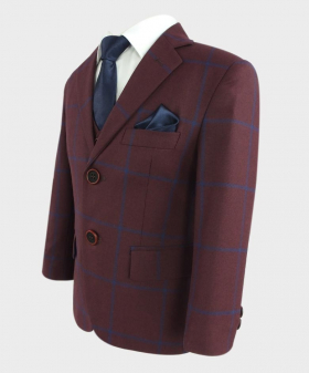 Boys Tailored Fit Windowpane Check Jacket and waistcoat in Burgundy with Blue Stripes  with navy blue accessories open side picture