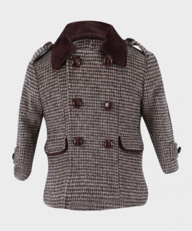 Boys Tweed Check Coat Tailored Fit  in Brown Front Picture