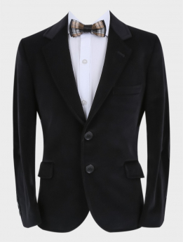 Boys Velvet Slim Fit Formal Blazer with Elbow Patches in Black with accessories front picture