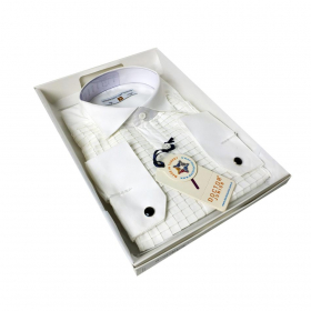 Boys Premium Wing Collar Square Pleated Cufflink Shirt in Cream Side picture