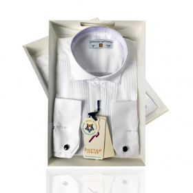 Boys Wing Collar Pleated Cufflink Shirt in White front picture
