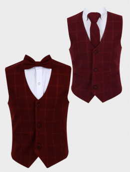 Boys Windowpane Check Slim Fit Cotton Waistcoat with bowtie or tie in Burgundy front picture