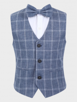 Boys Windowpane Check Slim Fit Cotton Waistcoat Set in Blue Grey with bow tie front picture