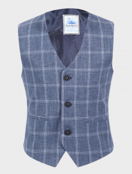 Boys Windowpane Check Slim Fit Cotton Waistcoat Set in Blue Grey front picture