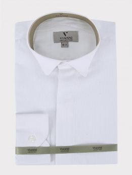 View of the Boys Wing Collar Shirt with Stripes in White