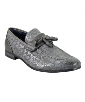 Right side view of the Men's Brindisi Moccasins Loafers Leather Shoes in Grey