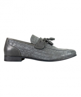 Side view of the Men's Brindisi Moccasins Loafers Leather Shoes in Grey
