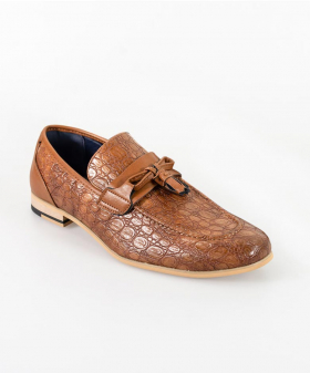 View from the left shoe of the Men's Brindisi Moccasins Loafers Leather Shoes in Light Brown