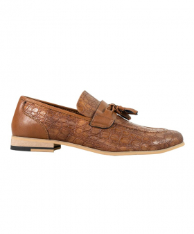 Side view of the Men's Brindisi Moccasins Loafers Leather Shoes in Light Brown