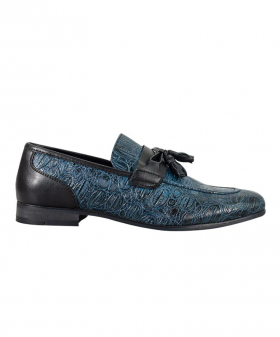 Side view of the Men's Brindisi Moccasins Loafers Leather Shoes in Navy
