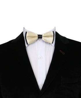 View of the Boys Classic Neck Strap Adjustable Solid Beige Bow Ties  with white shirt and black blazer jacket