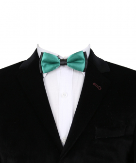 View of the Boys Classic Neck Strap Adjustable Solid Green Bow Ties with shirt and blazer jacket