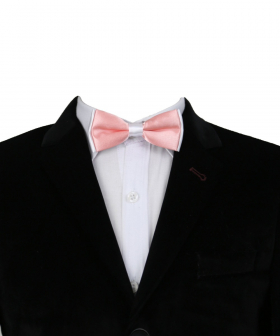 View of the Boys Pre-tied Adjustable Neck Strap Kids Bowtie  In Coral Pink and White