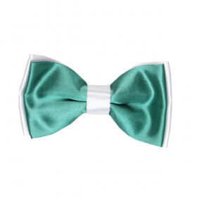 View of the Boys Pre-tied Adjustable Neck Strap Kids Bowtie  In Green and White