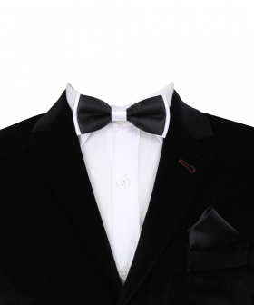 Boys Pre-tied Adjustable Neck Strap Kids Bowtie with Hanky In Black  And White