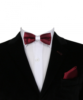 Boys Pre-tied Adjustable Neck Strap Kids Bowtie with Hanky In Burgundy And White