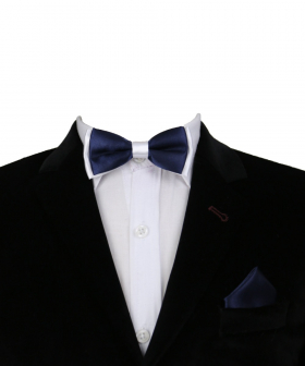Boys Pre-tied Adjustable Neck Strap Kids Bowtie with Hanky In Navy And White