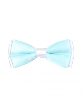 Boys Pre-tied Adjustable Neck Strap Kids Bowtie with Hanky In Mint And White