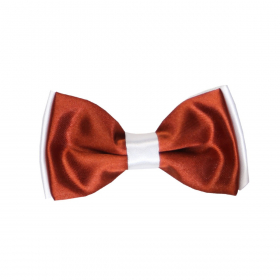 View of the Boys Pre-tied Adjustable Neck Strap Kids Bowtie In Sinopia Maroon and White