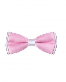 Boys Pre-tied Adjustable Neck Strap Kids Bowtie with Hanky In Pink And White